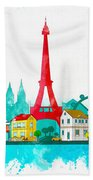Watercolor Illustration Of Paris Beach Towel