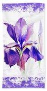 Watercolor Iris Painting Beach Towel