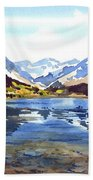 Watercolor Lake Reflection Beach Towel