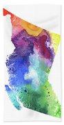 Watercolor Map Of British Columbia, Canada In Rainbow Colors  Beach Towel