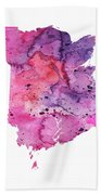 Watercolor Map Of New Brunswick, Canada In Pink And Purple  Beach Towel