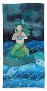 Watercolor Mermaid Feeding Her Narwhals Beach Towel