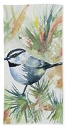Watercolor - Mountain Chickadee And Pine Beach Towel