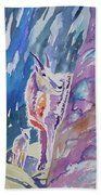 Watercolor - Mountain Goat With Young Beach Towel