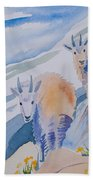 Watercolor - Mountain Goats On Quandary Beach Towel