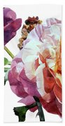 Watercolor Of Two Roses In Pink And Violet On One Stem That  I Dedicate To Jacques Brel Beach Towel