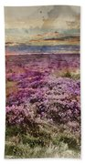 Watercolor Painting Of Beautiful Dawn Sunrise Landscape Image Of Heather On Higger Tor In Summer In  Beach Towel