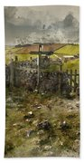 Watercolor Painting Of Public Footpath Signposts In Landscape In Beach Towel