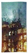 Watercolor Painting Of Spooky Houses At Night Beach Towel