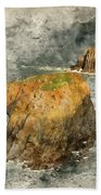 Watercolor Painting Of Stunning Sunrise Landscape Of Land's End In Cornwall England Beach Towel