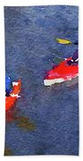 Watercolor Painting Of Two Canoes Beach Towel