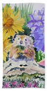 Watercolor - Pika With Wildflowers Beach Towel by Cascade Colors