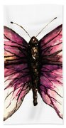 Watercolor Pink Butterfly Beach Towel