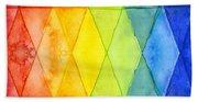Watercolor Rainbow Pattern Geometric Shapes Triangles Beach Towel