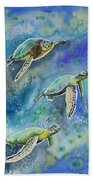 Watercolor - Sea Turtles Swimming Beach Towel