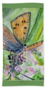 Watercolor - Small Butterfly On A Flower Beach Towel