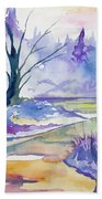 Watercolor - Stream And Forest Beach Towel