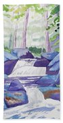 Watercolor - Summer Mountain Forest And Stream Beach Towel