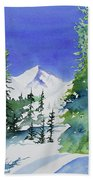 Watercolor - Sunny Winter Day In The Mountains Beach Towel by Cascade Colors