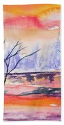 Watercolor - Sunrise At The Pond Beach Towel