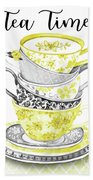 Watercolor Teacups-c Beach Towel