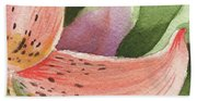 Watercolor Tiger Lily Dance Of Petals Close Up  Beach Towel