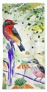 Watercolor - Vermilion Flycatcher Pair In Quito Beach Towel