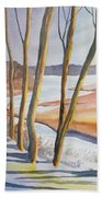 Watercolor - Winter Sunrise Beach Towel