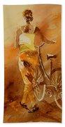 Watercolor With My Bike Beach Towel
