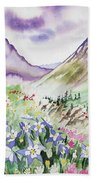 Watercolor - Yankee Boy Basin Landscape Beach Towel
