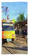 Watercolour Painting Of A Tram In Germany Beach Towel