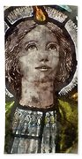 Watercolour Painting Of Stained Glass Religious Window In Church Beach Towel