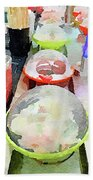 Watercolour Painting Of Sushi Dishes On The Belt Beach Towel