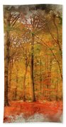 Watercolour Painting Of Vibrant Autumn Fall Forest Landscape Ima Beach Towel