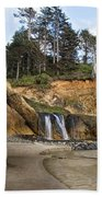 Waterfall At Hug Point State Park Oregon Beach Towel