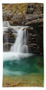 Waterfall At Johnston Canyon Beach Towel