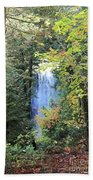 Waterfall Beyond The Trees Beach Towel