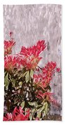 Waterfall Flowers Beach Towel