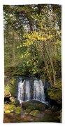 Waterfall In A Park, Whatcom Creek Beach Towel