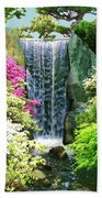 Waterfall In Spring Beach Towel