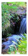 Waterfall In The Fern Garden Beach Towel
