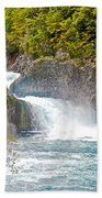Waterfall In Vicente Perez Rosales National Park Near Puerto Montt-chile  Beach Towel