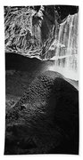 Waterfall Of The Caverns Black And White Beach Towel