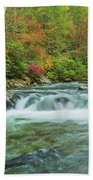 Waterfall On Little Pigeon River Smoky Mountains Beach Towel