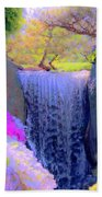 Waterfall Spring Colors Beach Towel