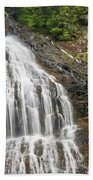 Waterfall With Green Leaves Beach Towel
