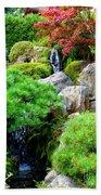 Waterfalls In Japanese Garden Beach Towel