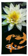 Waterlily And Koi Pond Beach Towel