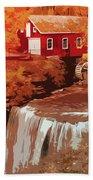 Watermill In Autumn Beach Towel
