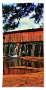 Watson Mill Covered Bridge 042 Beach Towel